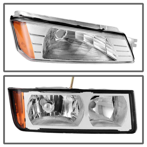 Headlight Assembly for 2002-2006 Chevy Avalanche with BODY CLADDING,Chrome Housing Amber Refletor with Signal Lights - YITAMotor