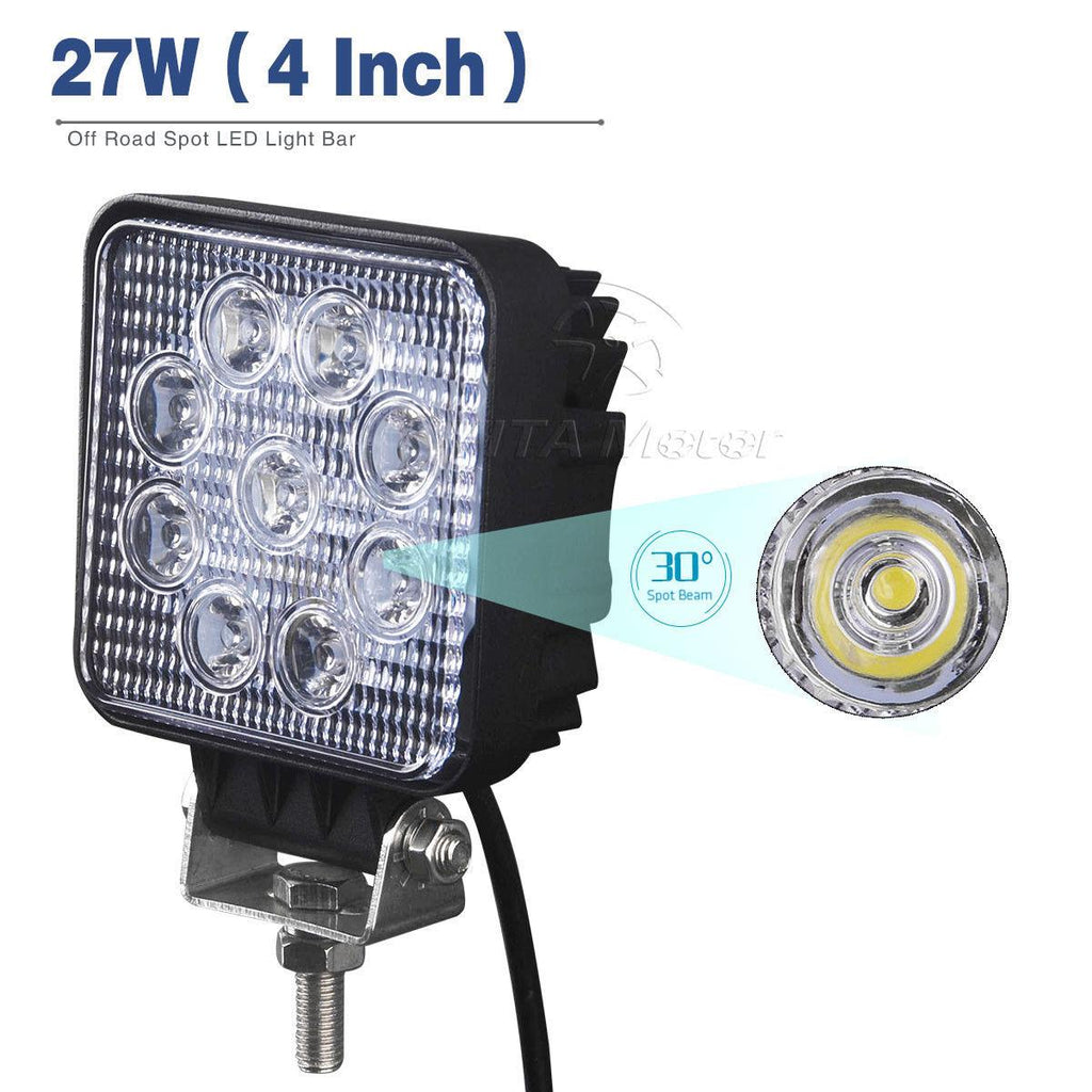 4X 4inch 27W Square Led Work Light Bar - YITAMotor