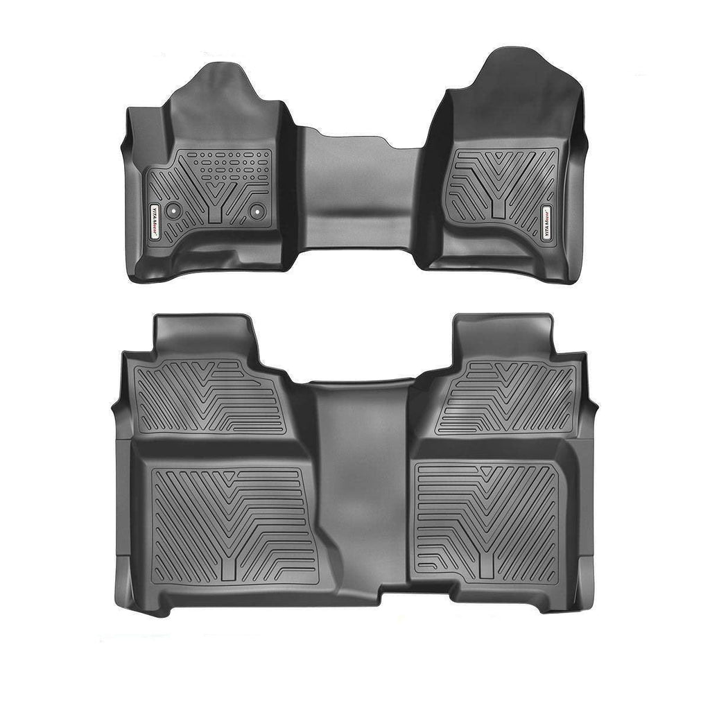 Floor Mats For 14-18 Silverado/Sierra 1500,15-19 2500HD/3500HD Crew Cab,with 1st Row Bench Seat,Custom Fit Black 1st&2nd Row All-Weather Protection