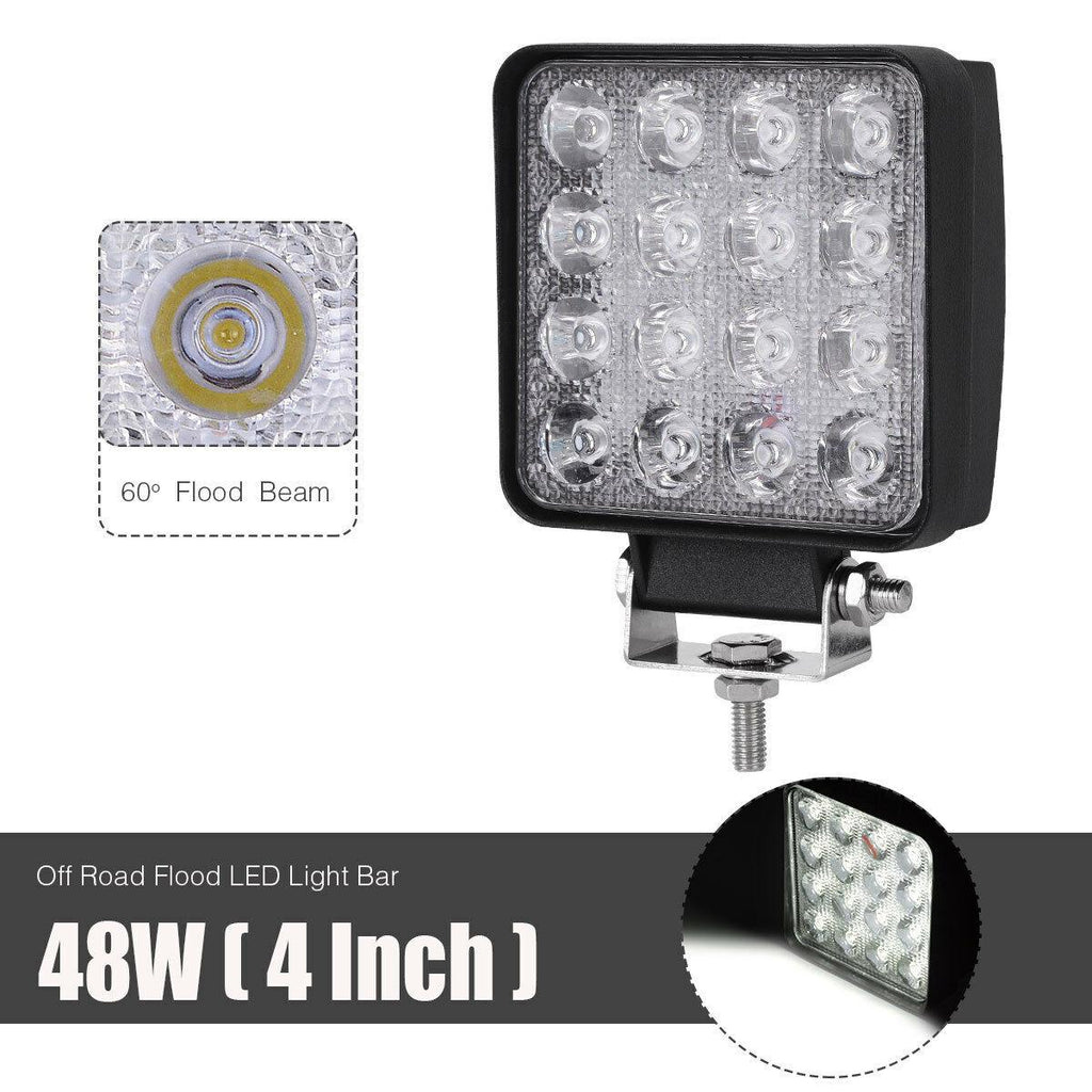 4X 48W 4inch Flood Beam Led Work Light Offroad Drl Boat