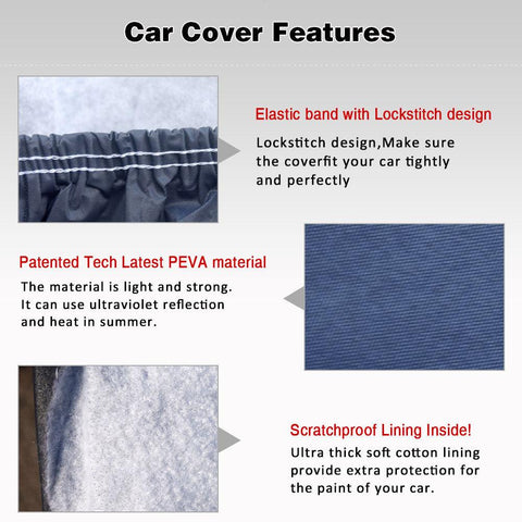 "Car Cover up to 206.69"" L, Breathable Full SUV Protection Cover Waterproof Windproof Dustproof Scratch Resistant Outdoor Protector Fits SUV - YITAMotor"
