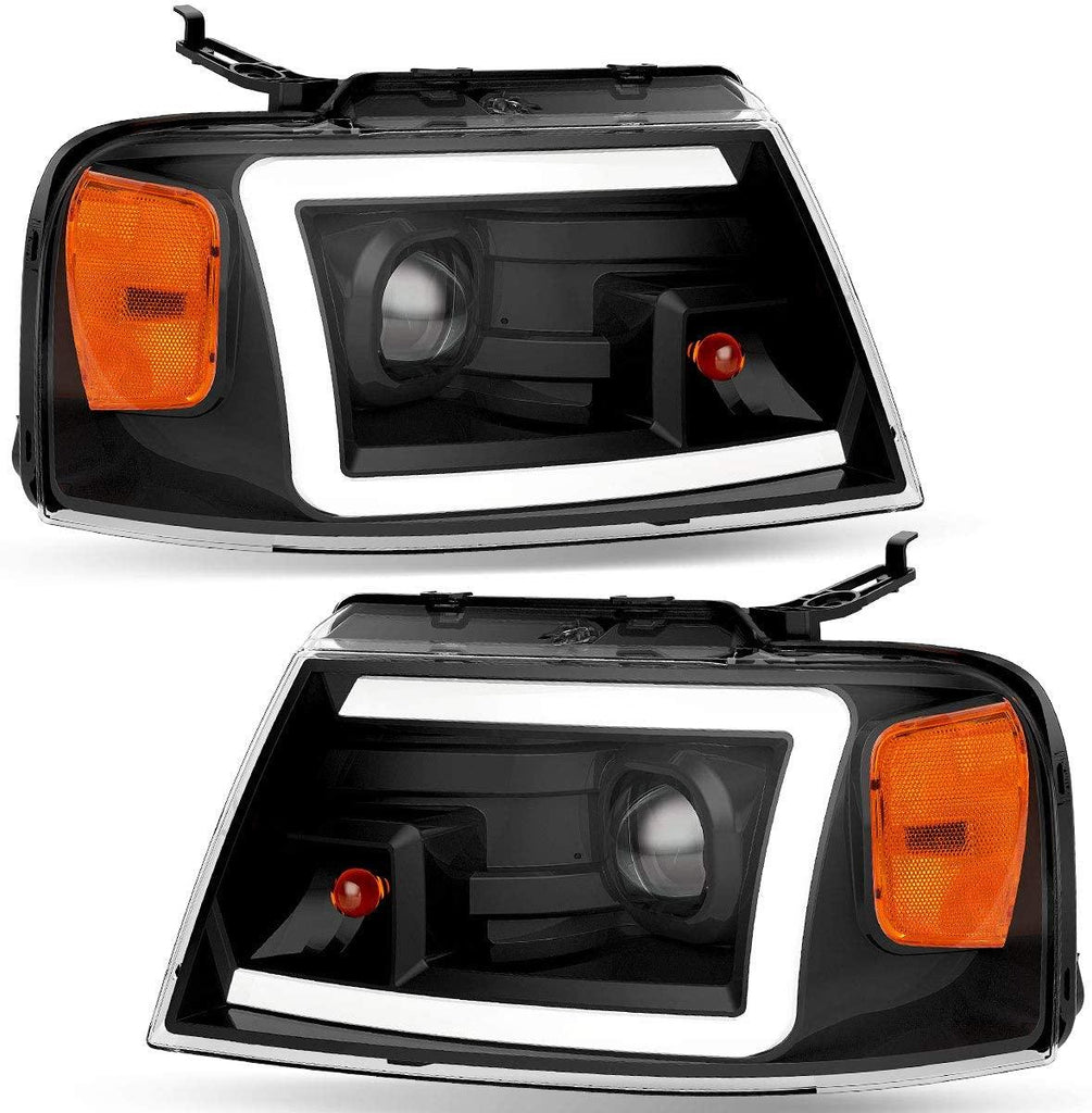 2004-2008 Ford F150 Pickup Dual Projector Headlights w/LED Tube DRL Headlamps Clear Spotlight Lens