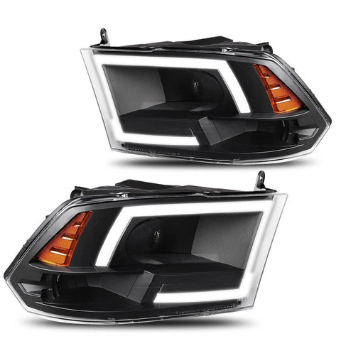 LED DRL Tube Dual Projector Headlights Compatible with 2009-2018 Dodge Ram 1500 2500 3500, Clear Clean Lens Amber Side Headlamps, Black Housing