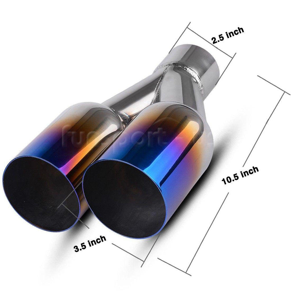 "2.5"" Inlet 3.5"" Dual Outlet Round Cut Blue Burnt Exhaust Tip 304 Stainless Steel - YITAMotor"
