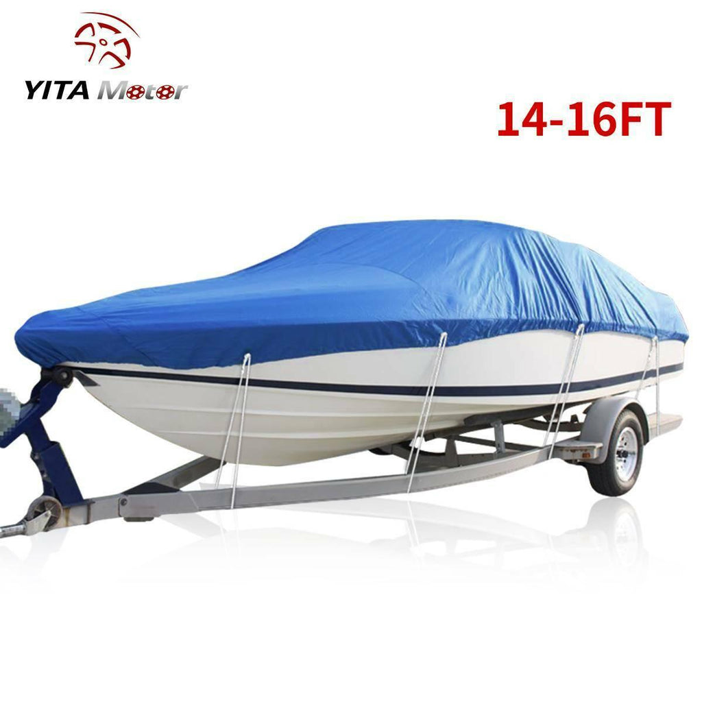 "14-16ft Boat Cover Waterproof 210D Oxford Beam 90"" Trailerable Fits V-Hull Boats"