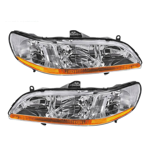 For 1998-2002 Honda Accord Headlights Assembly with Chrome Housing Amber Reflector