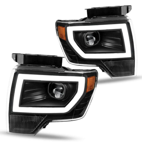 Headlight Assembly Compatible with 2009-2014 Ford F-150, Upgrade LED Tube DRL Dual Projector Headlamps with Clear Spotlight Lens, Amber Reflector
