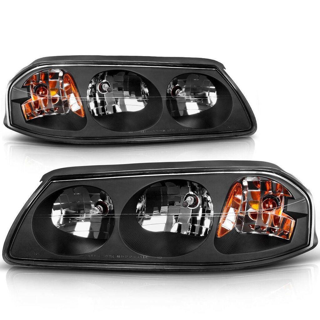 For 2000-2005 Chevy Impala Headlights Replacement Black Housing Amber Reflector Clear Lens - YITAMotor
