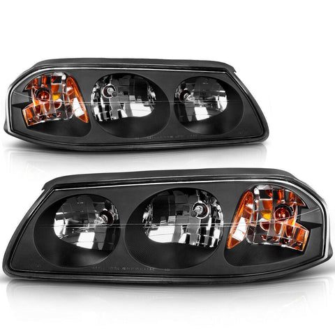 Pair Black Housing Amber Reflector Clear Lens Headlights Assembly For 2000-2005 Chevy Impala - YITAMotor