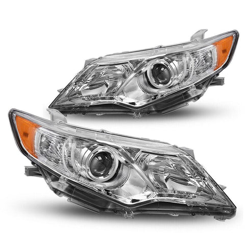 Headlight Assembly Fit for 2012 2013 2014 Toyota Camry (Chrome Housing, Amber Reflectors, Projector H11 9005 Bulbs) - YITAMotor