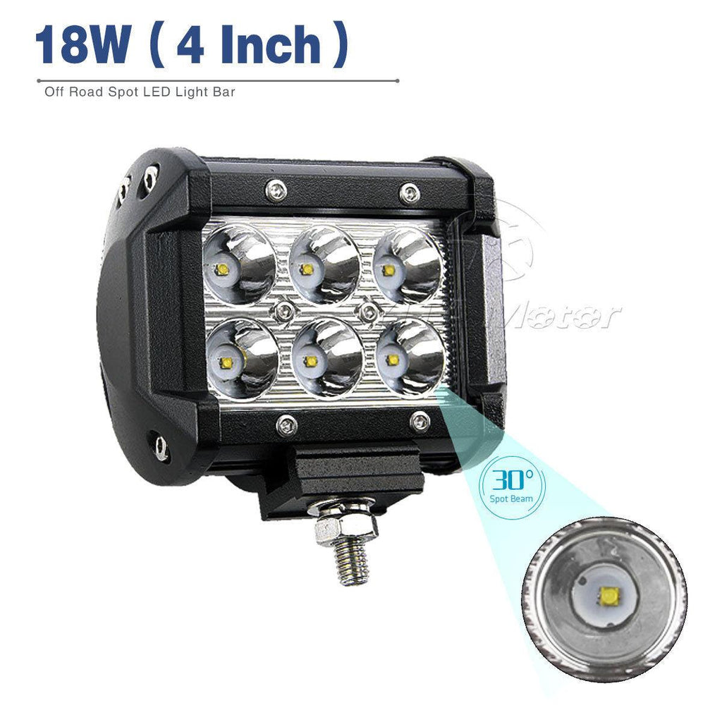 4 Inch 18W Square LED Work Light 2PCS with Wiring Harness Waterproof for Jeep SUV Truck Car ATVs 4x4 4WD Boat Off road Driving Light 12V 24V - YITAMotor