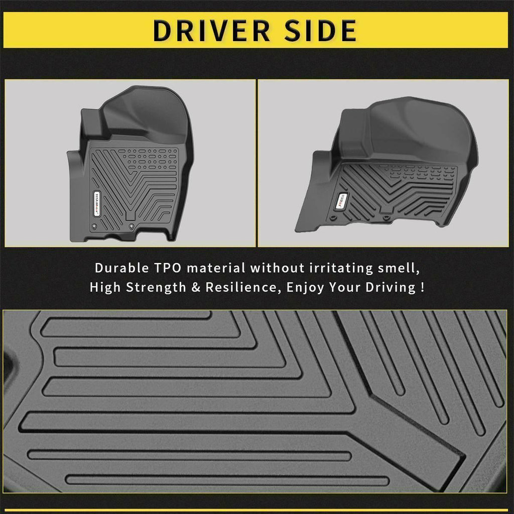 YITAMOTOR All Weather Floor Mats Compatible with 2017 2018 2019 2020 Nissan Titan Crew Cab Black 3pcs Set Floor Liners - YITAMotor