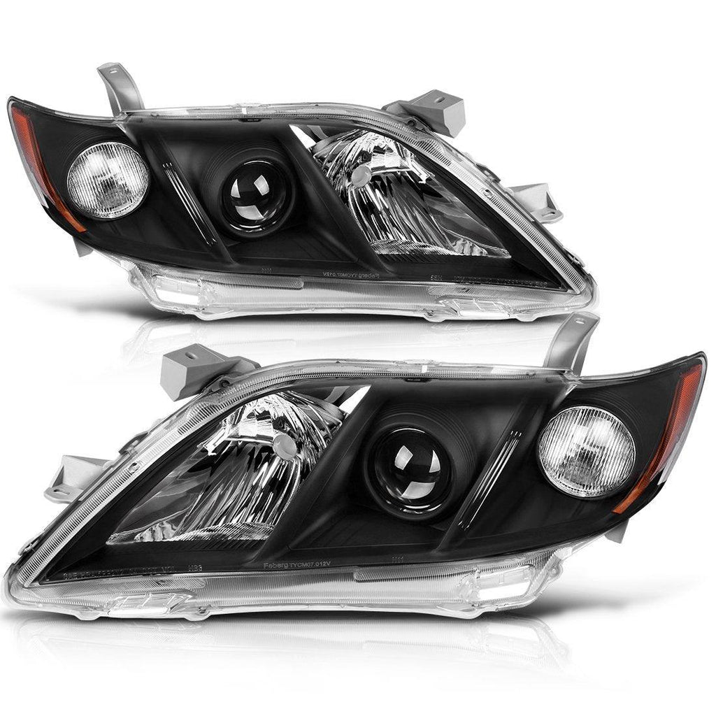 Headlight Assembly for 2007 2008 2009 Toyota Camry Headlamps Replacement Black Housing with Amber Reflector Clear Lens (Driver and Passenger Side) - YITAMotor