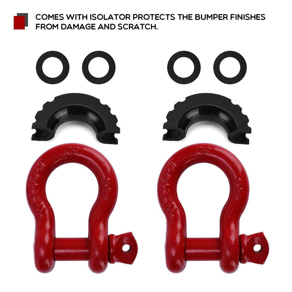 "1 Pair 3/4"" Red 4.75 Ton D-Ring Shackles With Black Isolator & Silencer Clevis - YITAMotor"