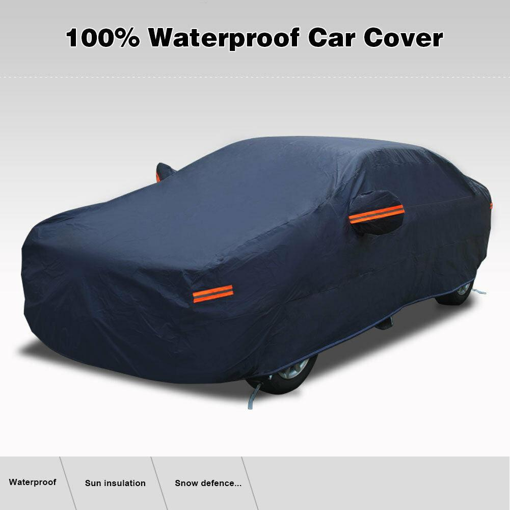 Fits Cars up to 192'' (Dark Blue) Waterproof Car Cover PEVA Cotton Lining All Season Protection Rain Sun Wind Dustproof Indoor Outdoor Use - YITAMotor