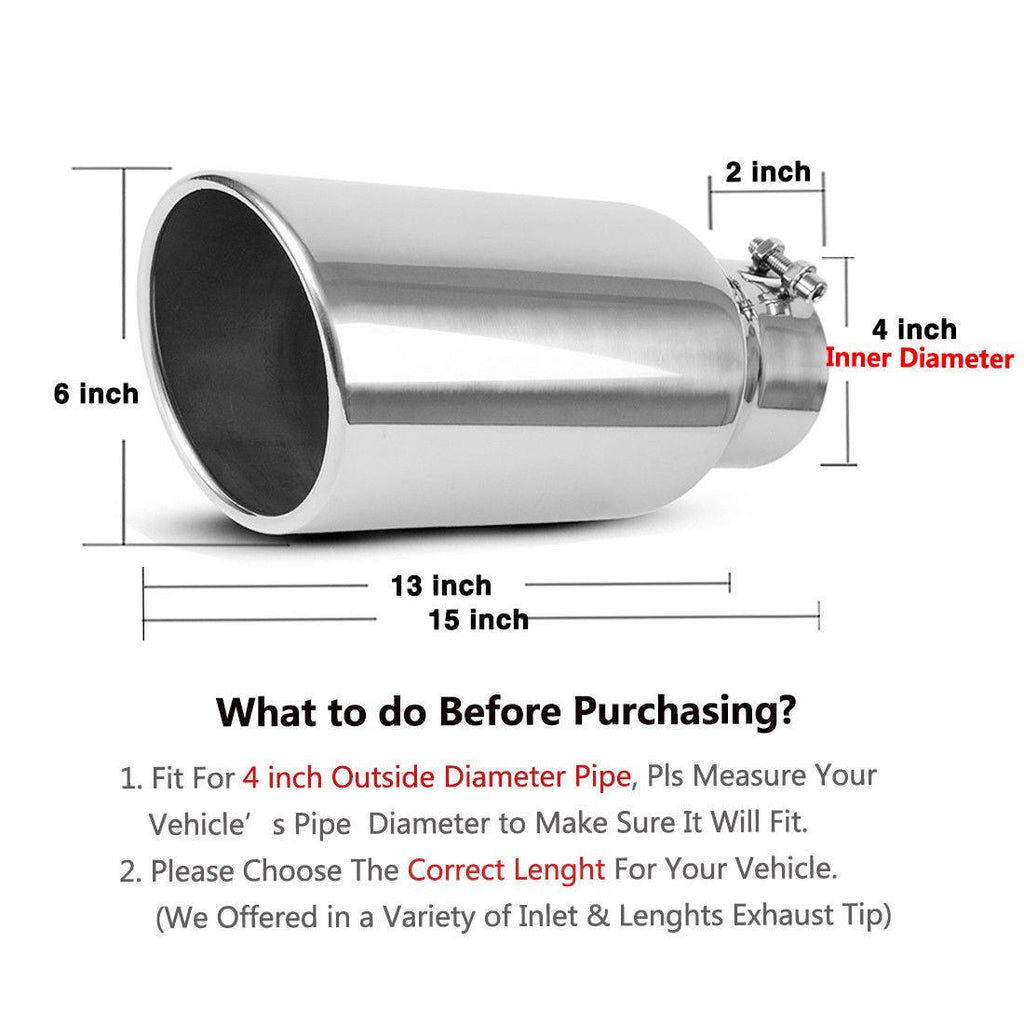 "4"" Inlet 6"" Outlet 15"" Long Bolt On Diesel Exhaust Tip Chrome Stainless Steel - YITAMotor"