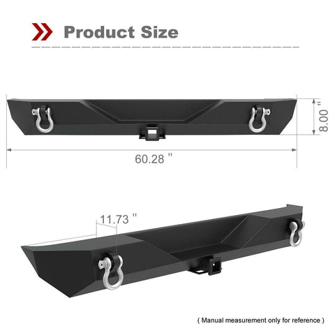 For 1987-2006 Jeep Wrangler TJ YJ Textured Rear Bumper w/D-rings & Hitch Receiver - YITAMotor