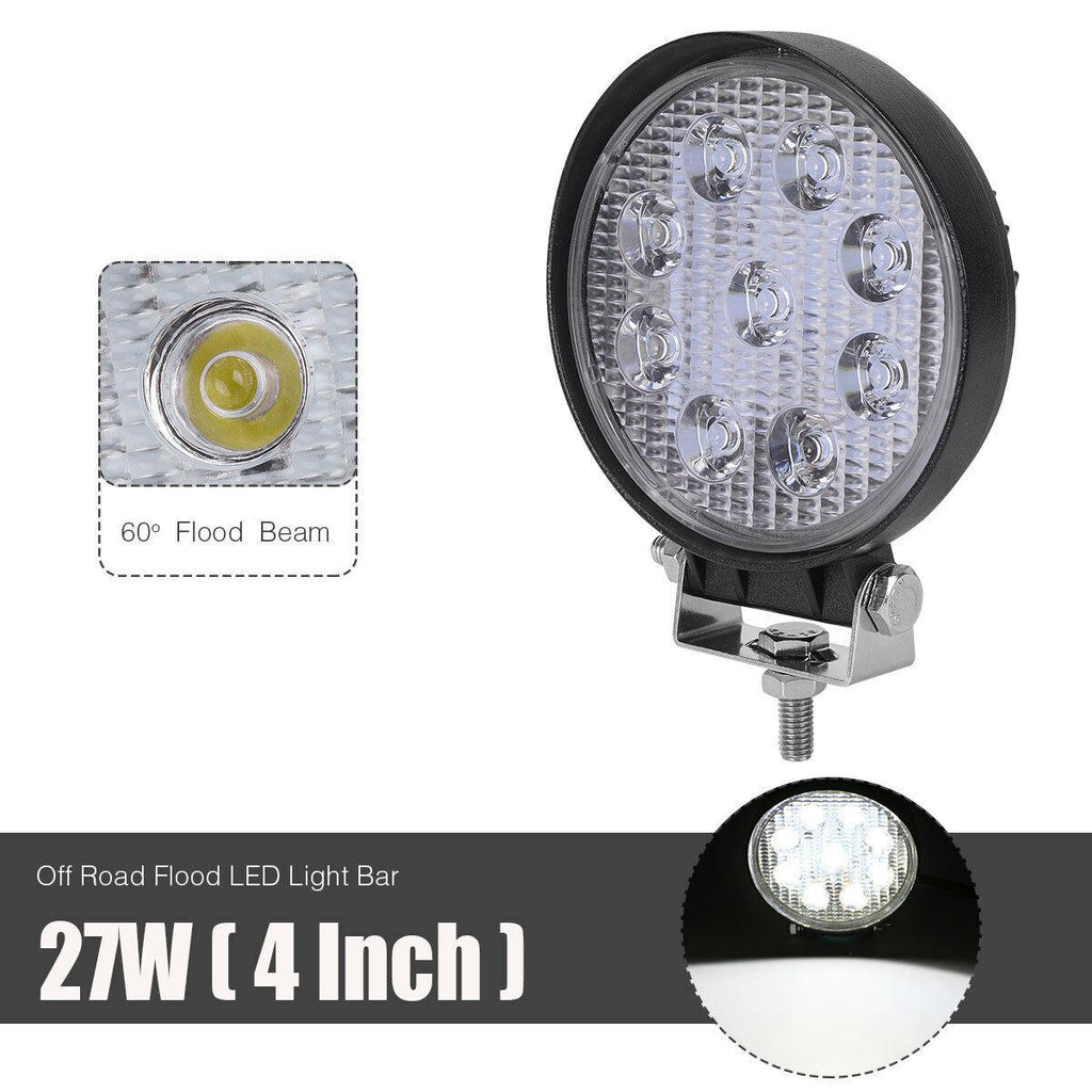 10x 4 Inch 27W Round Flood LED Work Light Fog Headlight Offroad Forklift Truck ATV - YITAMotor