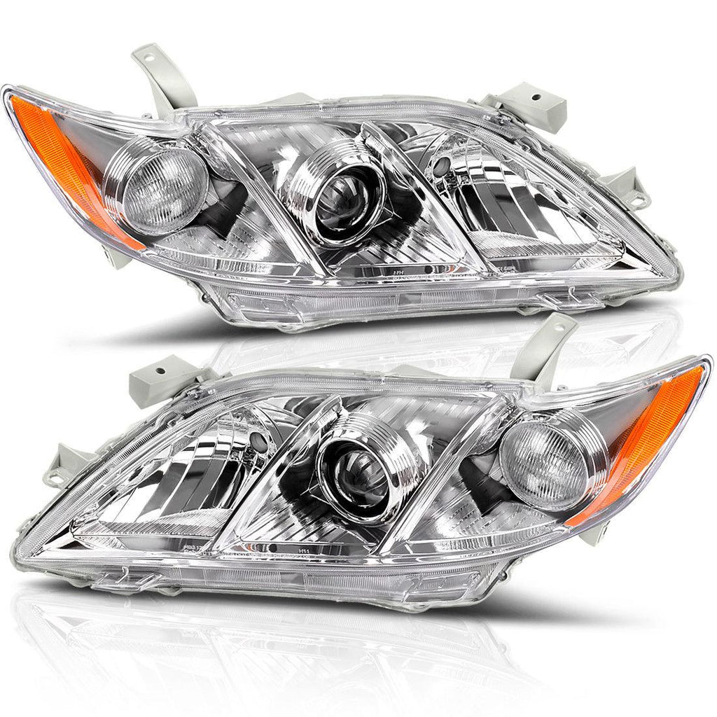 Pair For 07-09 Toyota Camry Headlight Assembly with Amber Side Clear Lens Projector Headlamps (Fits:Toyota Camry/Base/CE/LE/XLE) - YITAMotor