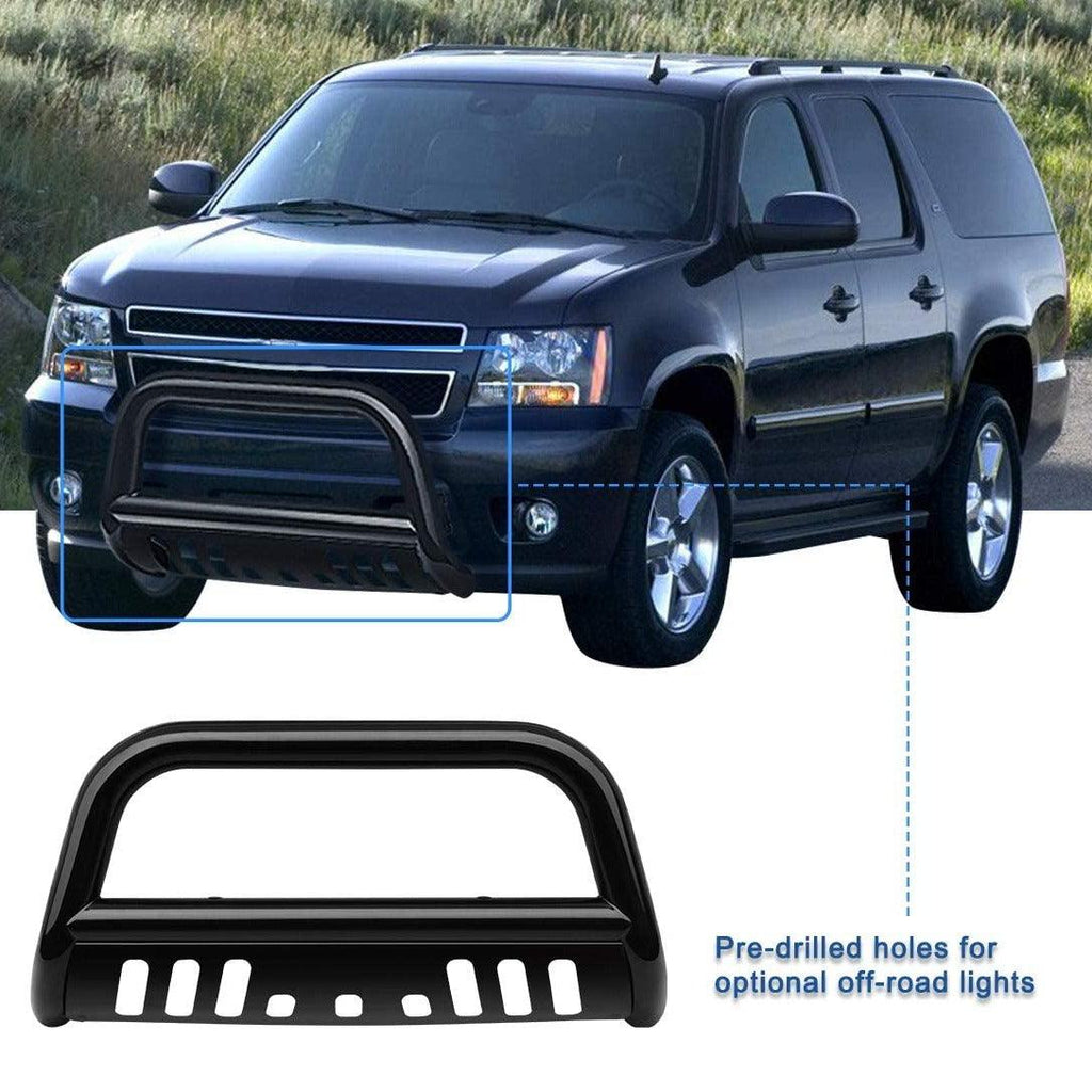 "Bull Bar for 07-18 Chevy Silverado 1500/Suburban 1500/Tahoe/GMC Sierra 1500/Yukon/ 3"" Grille Brush Push Guard Include Skid Plate Light Mounting Holes"