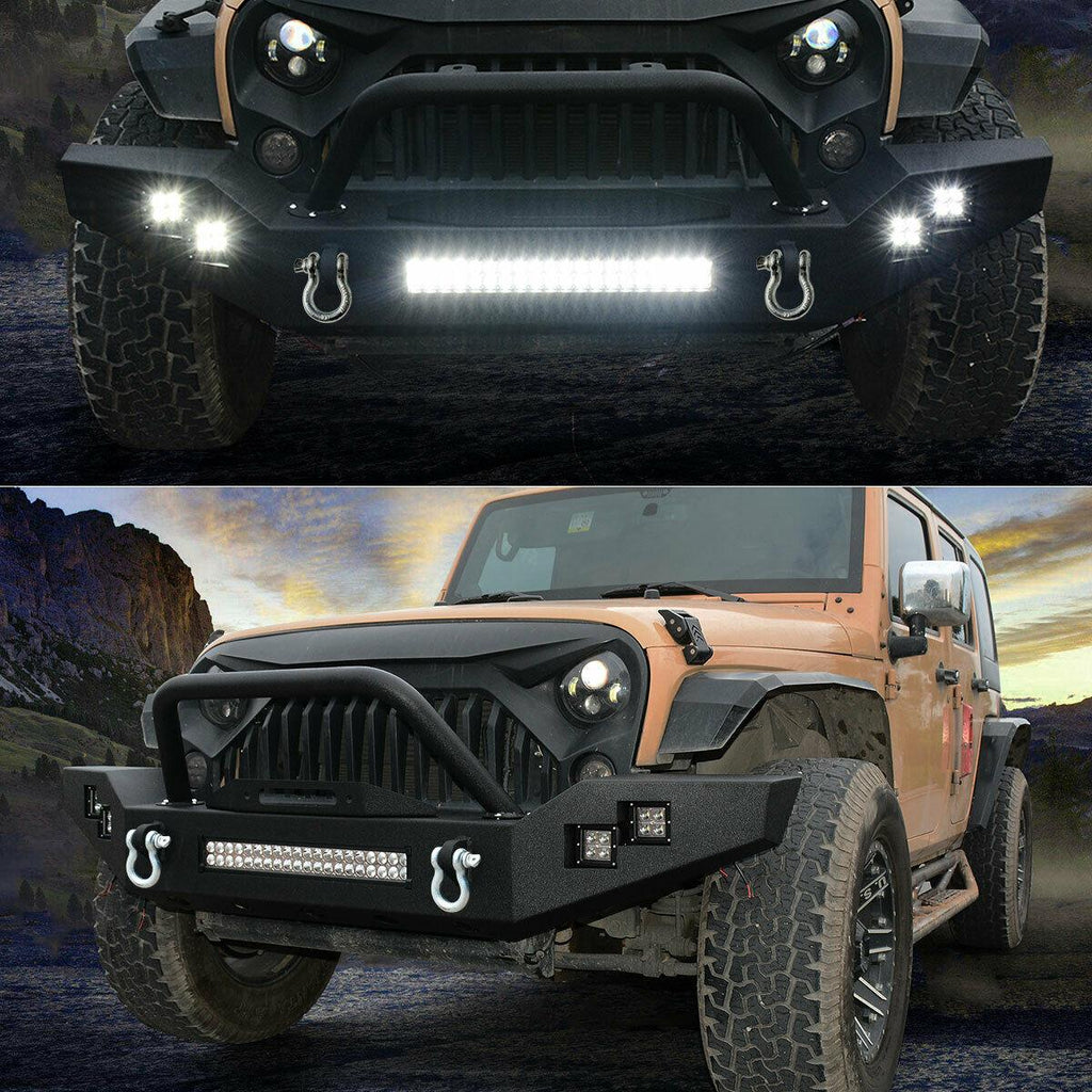 Front Bumper 120W LED Light Bar+ 4X 20W LED Light for Jeep Wrangler 2007-2018 JK