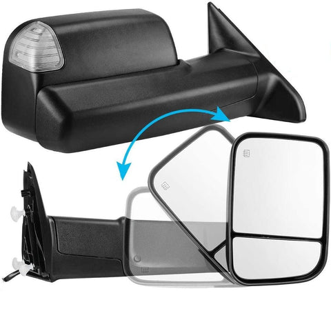 Towing Mirror For 09-17 Dodge Ram 1500 2500 3500 Pickup,Foldaway Power Heated LED Puddle Signals Tow Mirrors Pair Set with Ambient Temperature Sensor