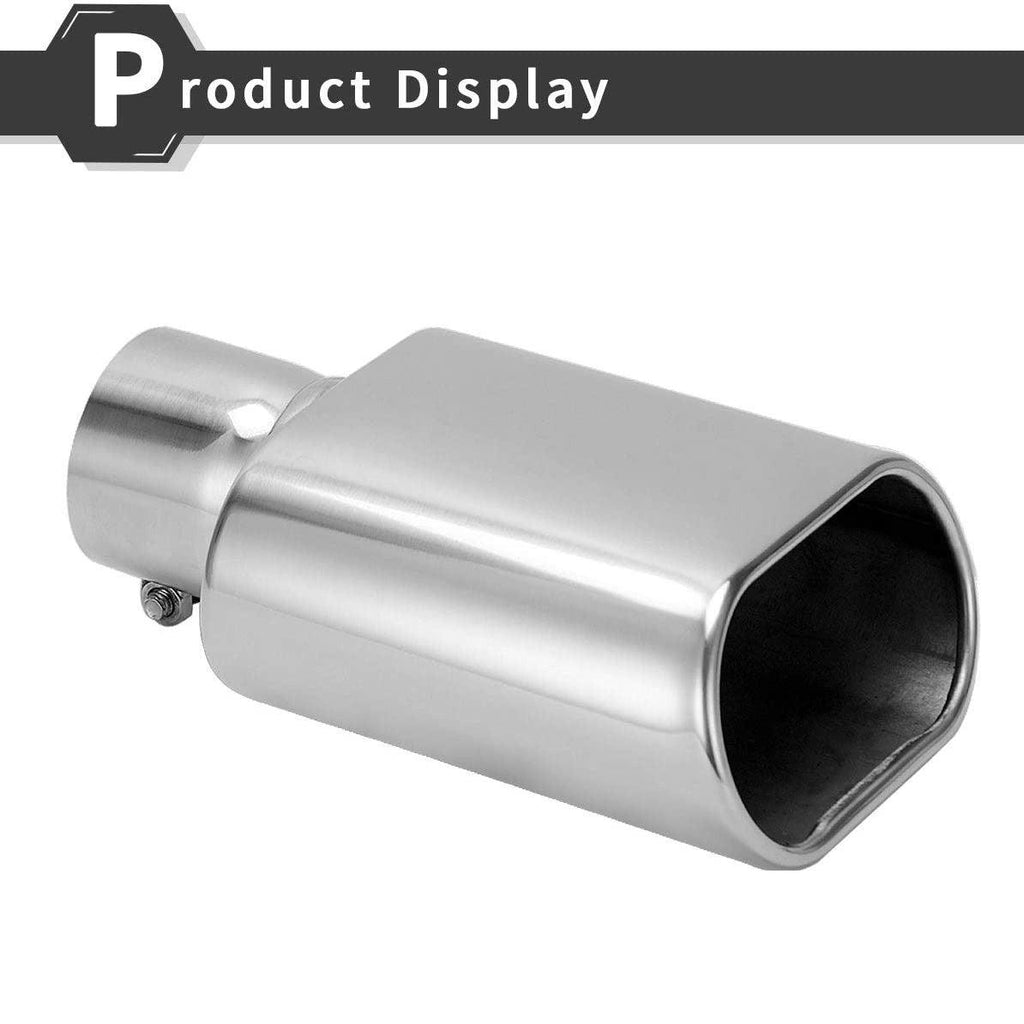 2pcs 2.5 Inch Inlet Square Exhaust Tip, Chrome Polished Diesel Exhaust Tip, Bolt On Design, 2.5'' Inlet, 5.5''x3''Outlet, 9'' Long - YITAMotor