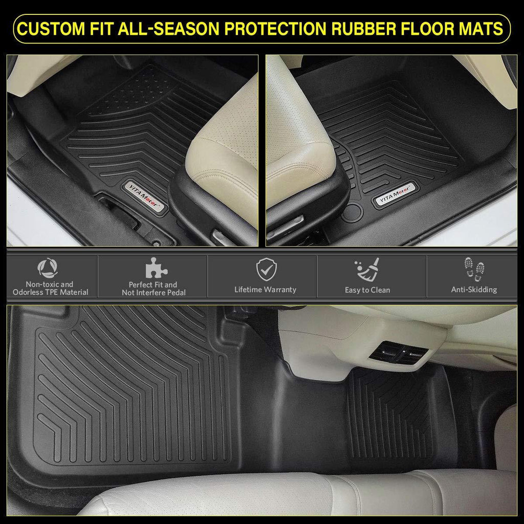 YITAMOTOR Floor Mats Floor Liners for 2011-2019 Ford Flex, 1st & 2nd Row All Weather Protection - YITAMotor