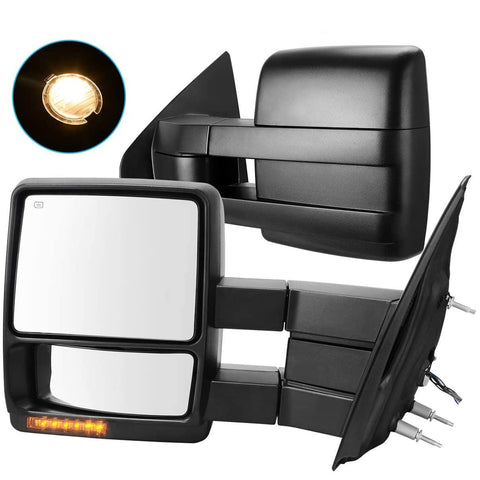 YITAMOTOR Towing Mirrors for 07-14 Ford F150 Truck, Trailer Mirrors w/Power Electric Controlling Heated Glass Turn Signal and Puddle Lamp