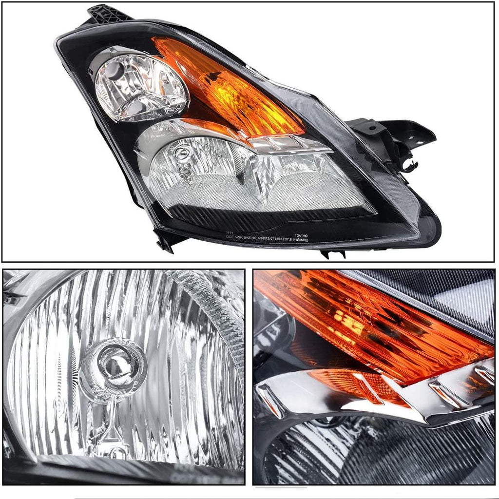 Headlight Assembly and Fog Light Combo Compatible with 2007-2009 Altima, Black Housing Headlight Replacement, Clear Lens Fog Lamps w/Bulbs - YITAMotor