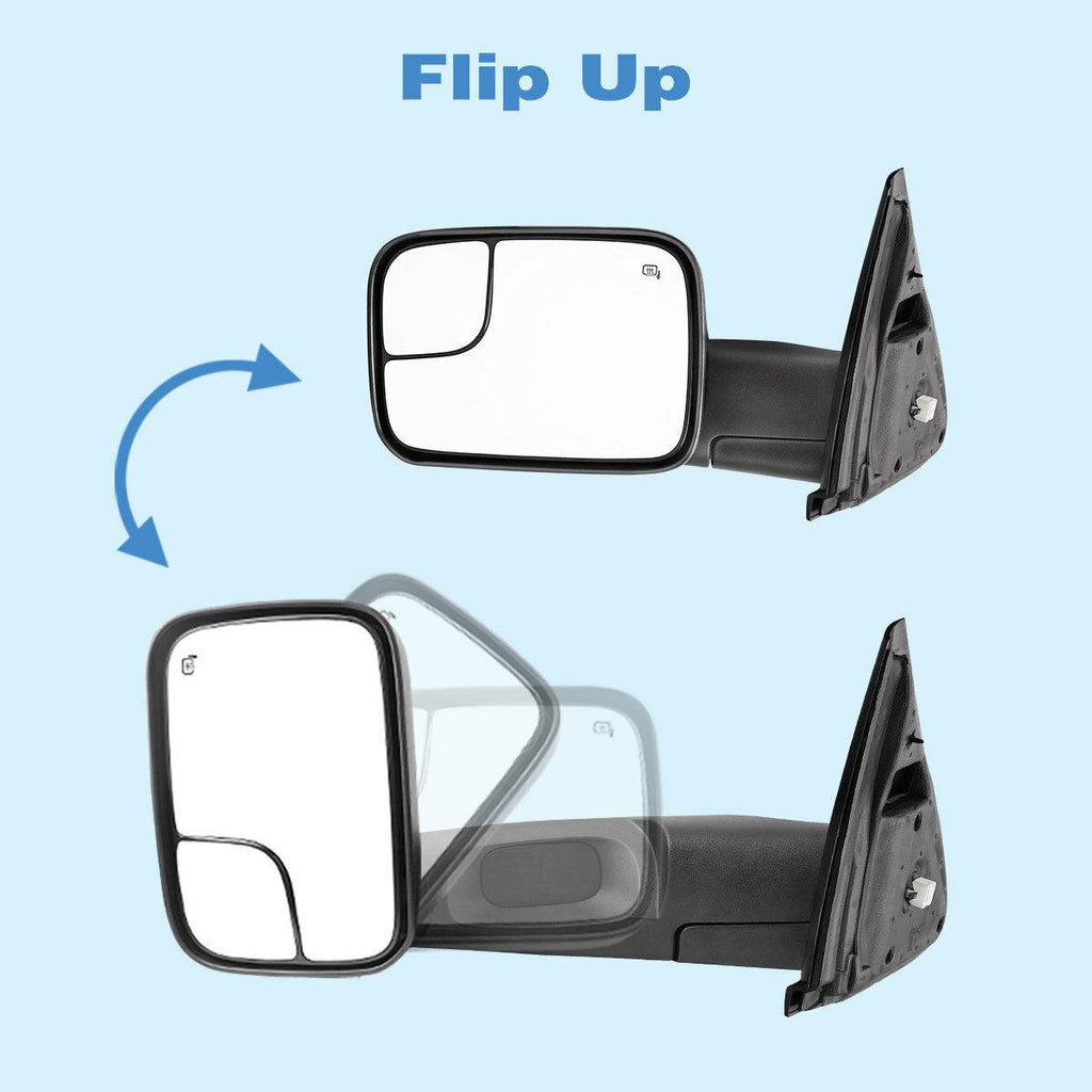 Pair Tow Mirrors For 2002-2008 Dodge RAM 1500 2003-2009 Dodge RAM 2500 3500 Power Heated Dual Lenses Flip-Up with Black Housing Manual Folding - YITAMotor