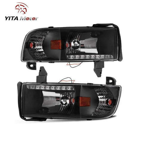 DRL Projector Headlight Assembly for 94-01 Dodge Ram 1500/94-02 Dodge Ram 2500 3500 Pickup Replacement Headlamp, Black Housing with Corner Lamps - YITAMotor