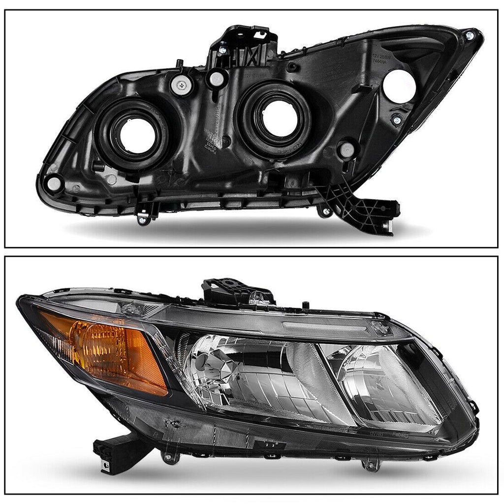 for 2012-2015 Honda Civic Black Housing Headlights Headlamps Assembly Left+Right - YITAMotor
