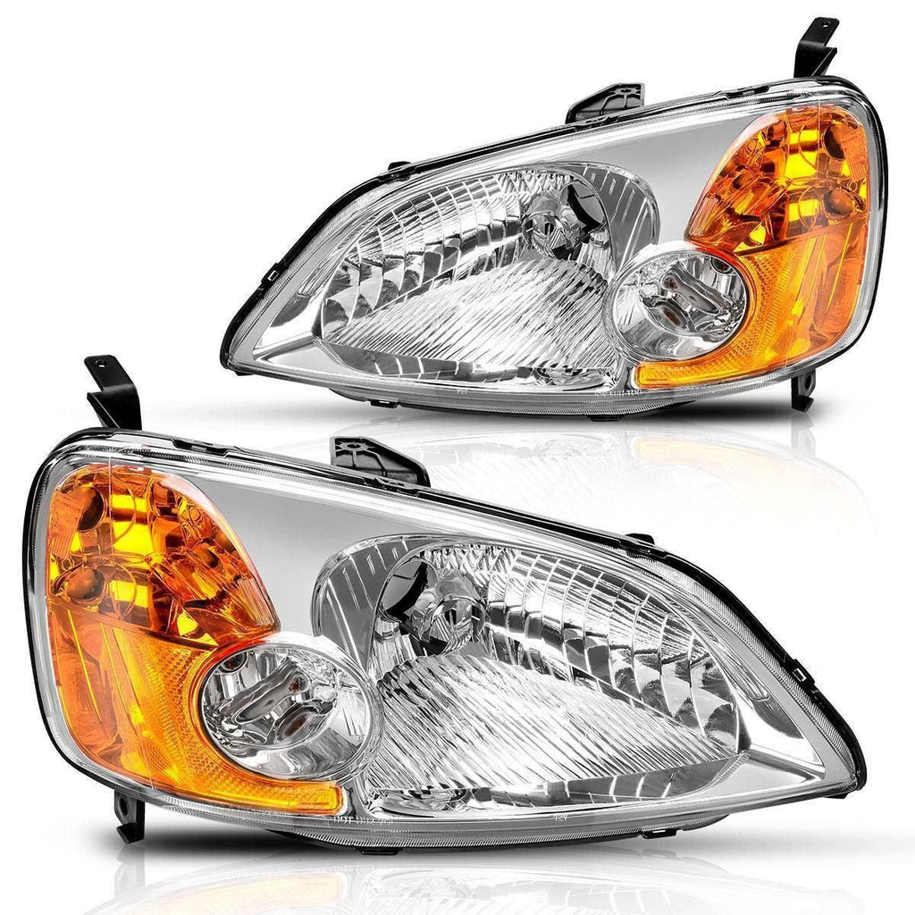 Headlight Assembly Compatible with 2001 2002 2003 Honda Civic 4-Door Sedan Chrome Housing Amber Reflector Clear Lens