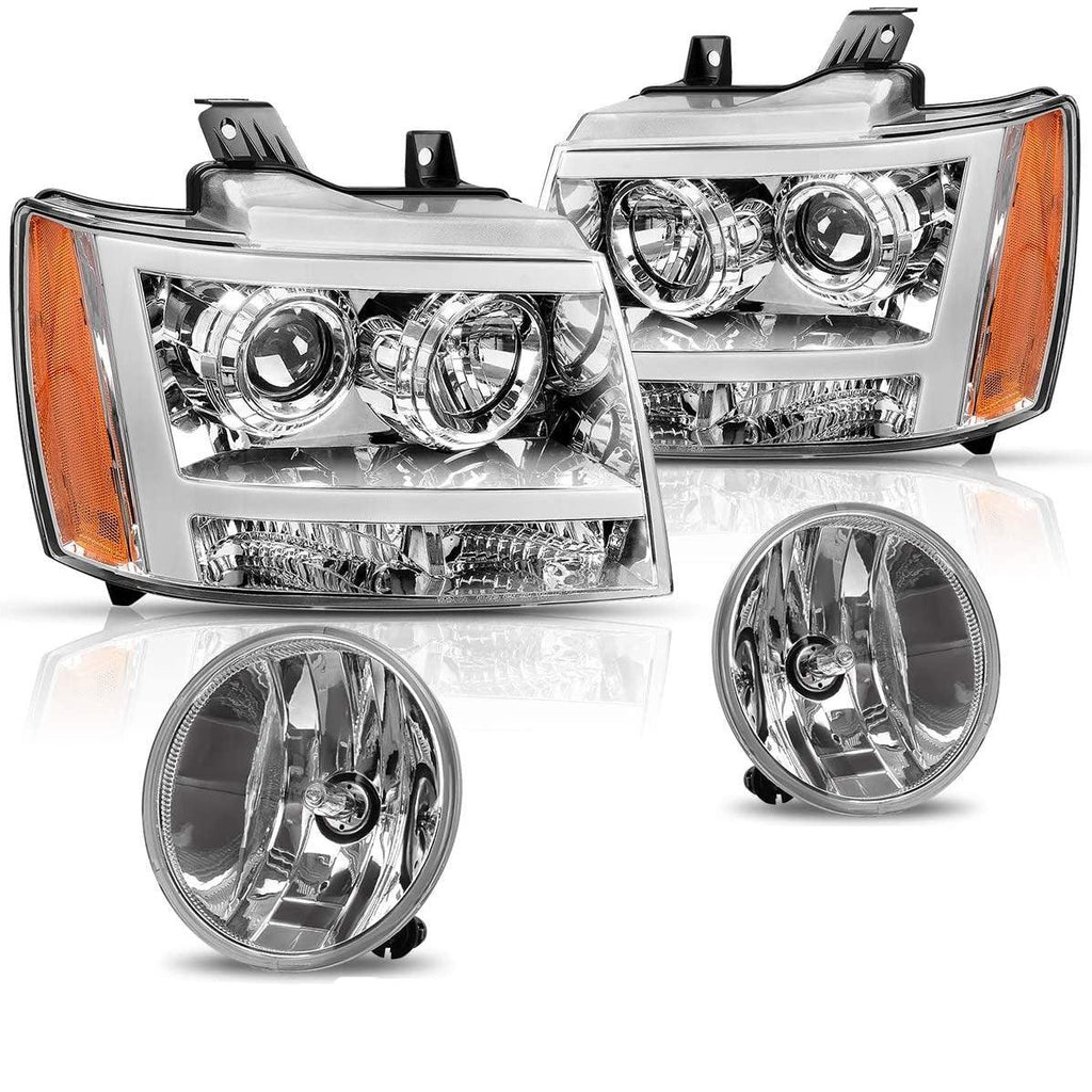 Headlight Assembly and Fog Light Set For 07-13 Chevy Avalanche /07-14 Chevrolet Suburban/Tahoe,Chrome Housing Headlights,Clear Lens Fog Lamps w/Bulbs - YITAMotor
