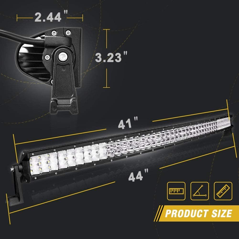 42 inch LED Light Bar 405W Tri-Row Curved Light Bars Spot &Flood Combo Beam with Wiring Harness