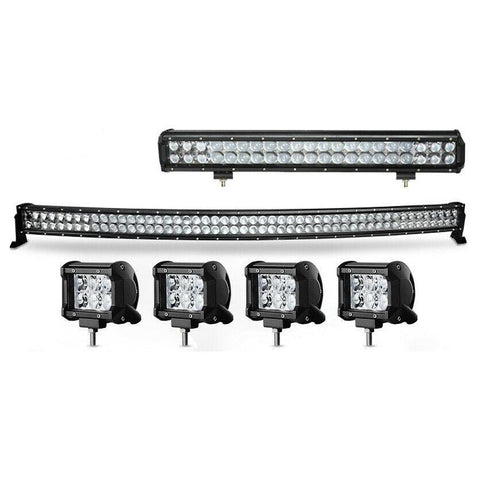"52"" Curved LED Light Bar +20"" 126W +4'' 18W Pods for Ford Jeep Truck SUV 4WD"