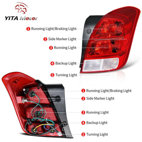 2013-2019 Chevy Trax Halogen Tail Lights LED Brake Lamp Replacement L + R
