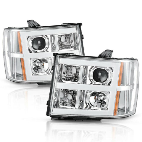 Pair Headlight Assembly for 07-13 GMC Sierra 1500/07-14 Sierra 2500HD 3500HD LED Tube Projector Headlights Chrome Housing Amber Reflector - YITAMotor