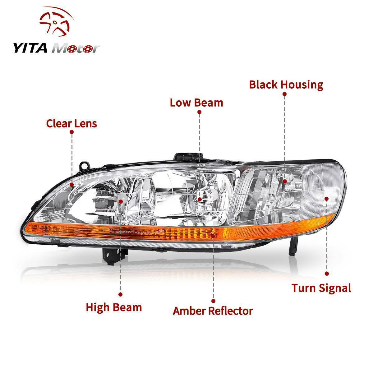 For 1998-2002 Honda Accord Headlights Assembly with Chrome Housing Amber Reflector - YITAMotor
