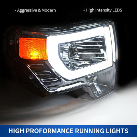 YITAMotor Headlight Compatible with 2009-2014 Ford F-150, Upgrade LED Tube DRL Dual Projector Headlamps with Clear Spotlight Lens Amber Reflector