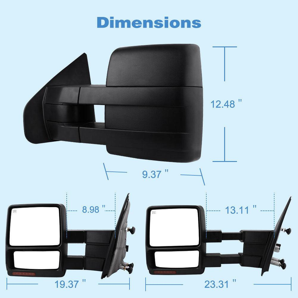 YITAMOTOR Towing Mirrors compatible for Ford F150 Power Heated LED Turn Signal Puddle Light Tow Mirrors compatible for 2004-2006 Ford F150 Series Pickup