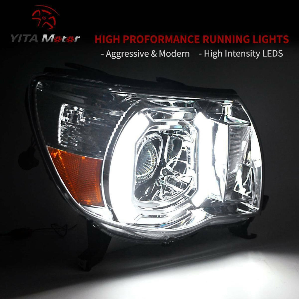 Dual Projector Headlight Assembly Compatible with 2005-2011 Toyota Tacoma, Headlamps w/LED Daytime Running Light Tube, Amber Reflector Headlights