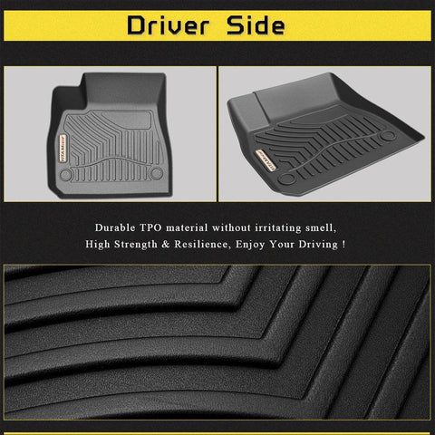 Floor Mats Floor Liners For 2016-2020 Chevrolet Malibu 1st 2nd Row Heavy Duty Rubber All Weather Protection - YITAMotor