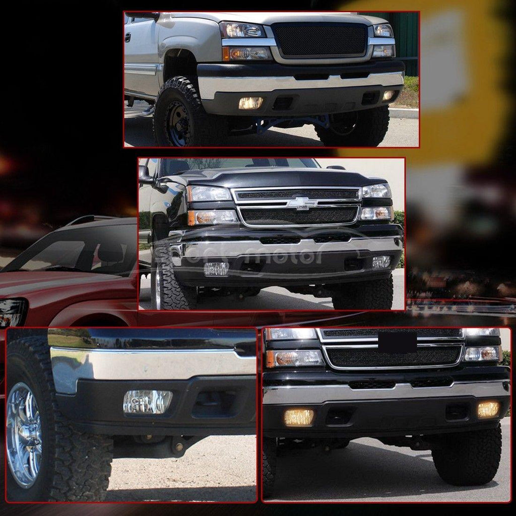Fog Lights For Chevy Silverado 2003-2007 All Models Avalanche 2002 2003 2004 2005 2006 Without Body Cladding (OE Style Clear Lens w/Blubs) - YITAMotor