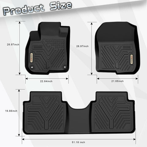 Floor Mats Floor Liner for 2017 2018 2019 Honda CR-V 1st 2nd Row All Weather Protection - YITAMotor