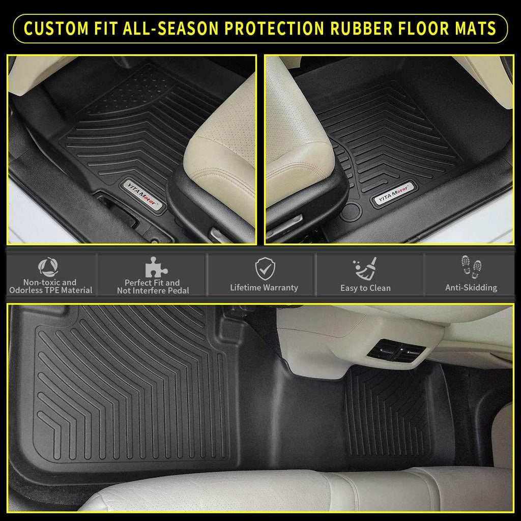 Black Floor Mats Compatible with 2018 2019 2020 Toyota Camry, Excludes Hybrid Models, Custom Fit Floor Liners 1st & 2nd Row All-Weather Protection - YITAMotor