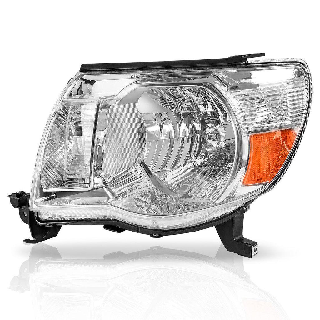 For 05-11 Toyota Tacoma Pickup Truck Headlight Assembly OE Style Replacement Chrome Housing Amber Reflector (Passenger and Driver Side) - YITAMotor
