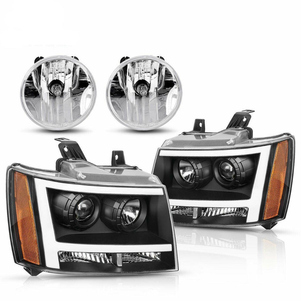 Headlight Assembly and Fog Light Set For 07-13 Chevy Avalanche/07-14 Chevrolet Suburban/Tahoe,Black Housing Headlights, Clear Lens Fog Lamps w/Bulbs