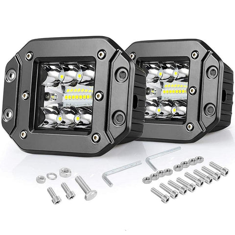 2x4.8Inch 42W Triple Row LED Work Lights Bar 27000LM Upgrade Chipset Flood Spot Combo Beam Bumper Truck - YITAMotor
